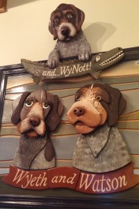 Woodcut of owner's dogs