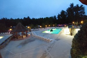 Outdoor pool at dusk